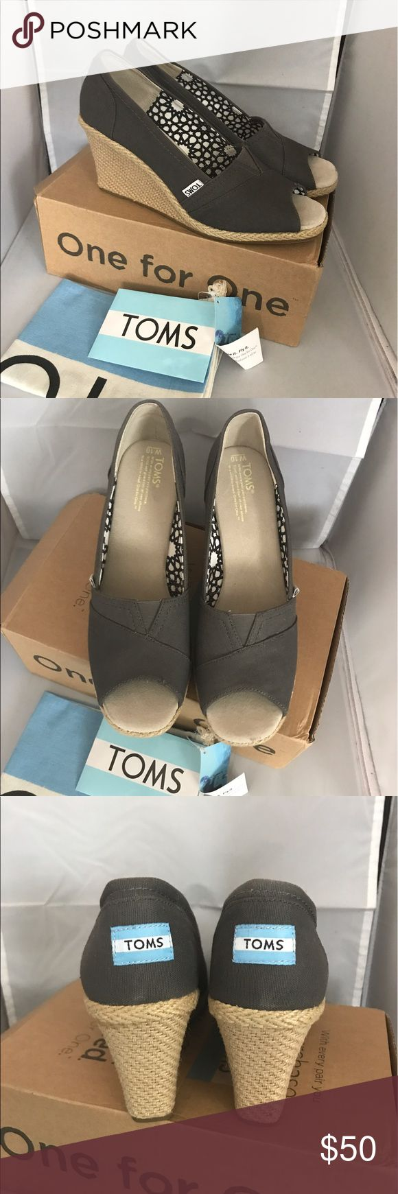 """Toms Canvas wedge peep toe canvas rubber sole Heel-height is 3 1/4"""" rubber sole authentic TOMS Shoes Wedges"""