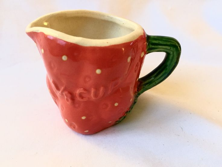 VINTAGE STRAWBERRY MEASURING Cup Stamped Japan red ceramic strawberry marked 1/8 collectible creamer by StudioVintage on Etsy