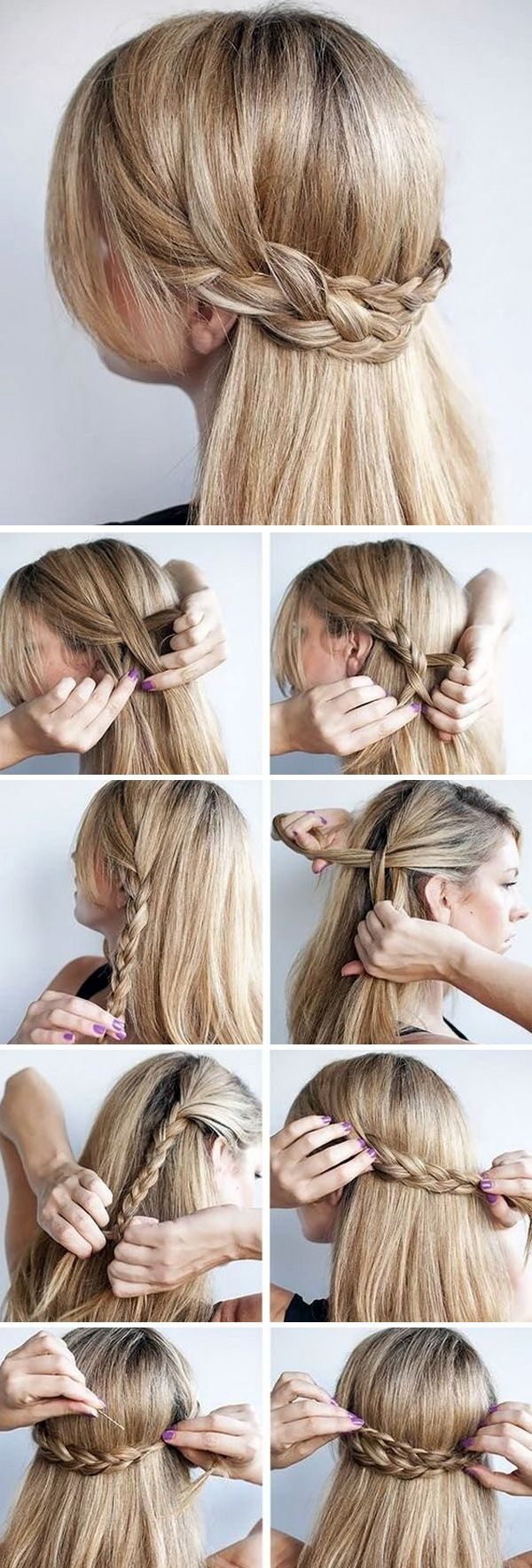 Step by step braided hairstyle construction