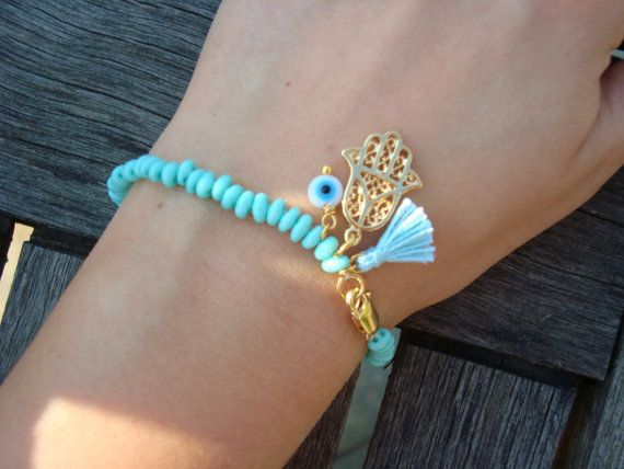 Evil Eye Beaded  Hamsa Bracelet - Turquoise Hamsa Bracelet - Tassel Bracelet