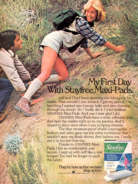 http://www.buzzfeed.com/juliegerstein/17-terrifying-vintage-tampon-and-maxi-pad-ads