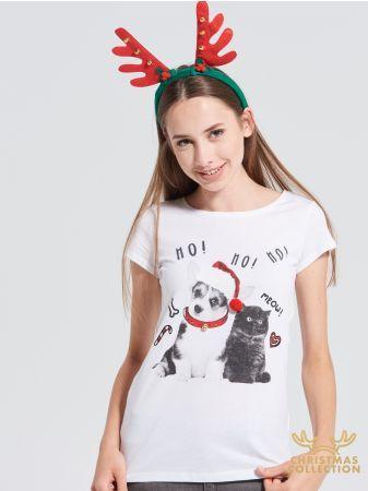 SINSAY - T-shirt świąteczny <br><br>Wzrost modelki: 176 cm<br>Rozmiar produktu: S