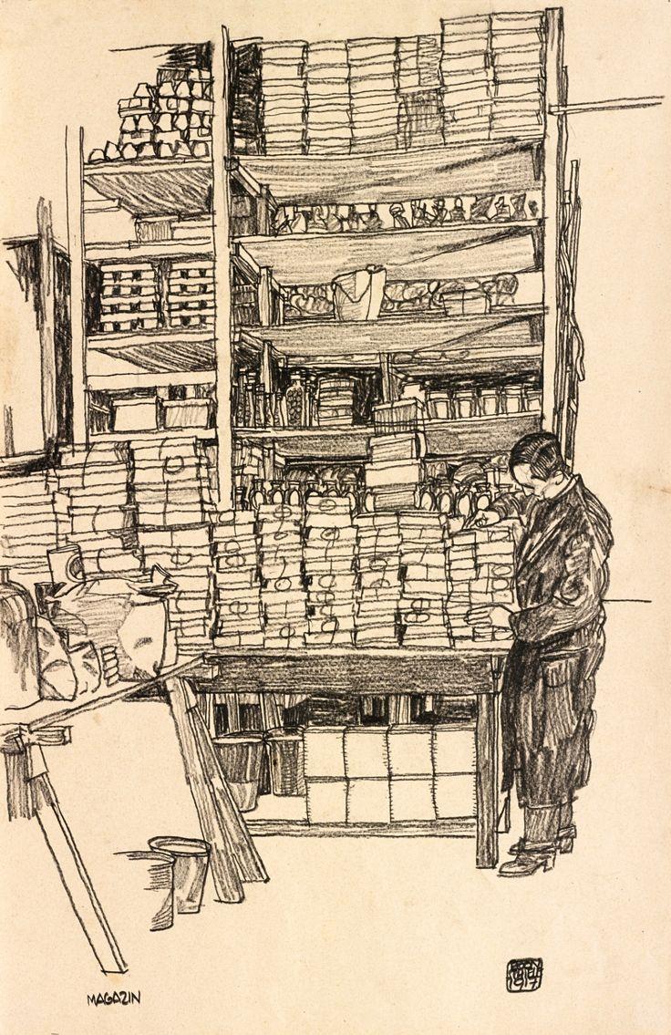 Egon Schiele (Austrian, 1890-1918), Storeroom with Civilian Worker in Vienna, 1917. Black crayon on paper, 45.08 x 29.84 cm.