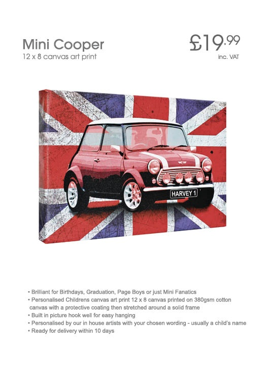 Personalised Mini Cooper Canvas - simply add a name to the number plate to make this a great gift for any Mini fan