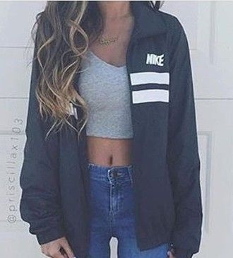 jacket nike windbreaker black and white Pinterest: myia24