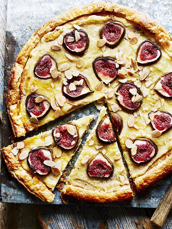 This recipe for honeyed fig and curd cheese tart is easy and ready in under an hour. Use cow or goat's curd for this. Both are young and fresh but the goat's curd will give you more of a tang.