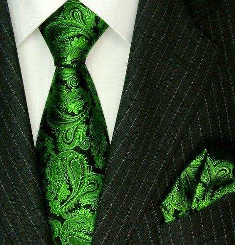 Lorenzo Cana Luxury Italian Pure Silk Woven Handmade Tie Hanky Set Green Black Paisley 7714501
