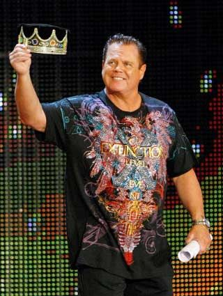 """Medics perform CPR on WWE wrestler and broadcaster Jerry """"The King"""" Lawler after he passed at the ringside announcers table; he is reportedly """"stabilized"""" and """"breathing on his own"""" at a Montreal hospital."""