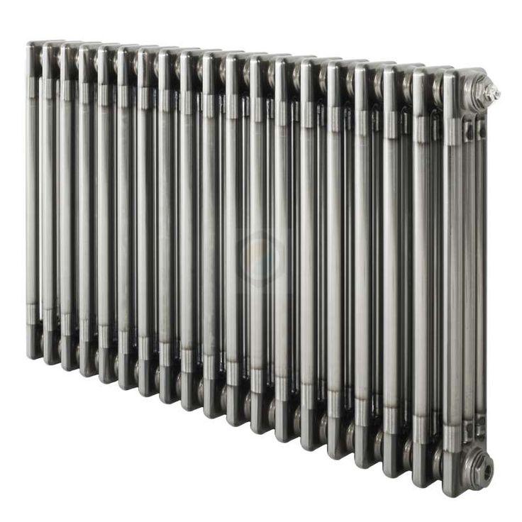 600H x 1686W 3 Column Horizontal Raw Metal Lacquered Radiator - ColumnRads UK