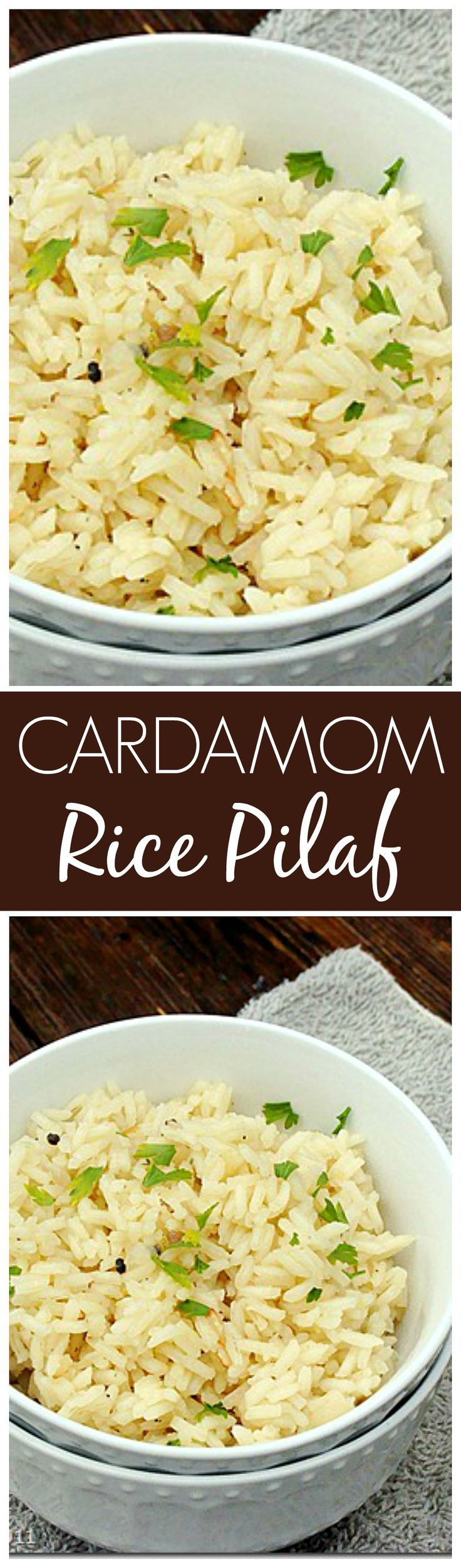 Cardamom Rice Pilaf - Quick and easy recipe for rice pilaf with basmati rice and cardamom.