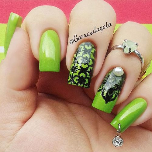 33 best green nails olive nails lime green nail designs images this time we show you green nails solid and with creative designs look at those greenery olive green mint and lime shades and feel spring vibes right prinsesfo Choice Image