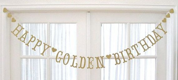 Antique Gold HAPPY GOLDEN BIRTHDAY Banner by 5280bliss on Etsy, $25.00