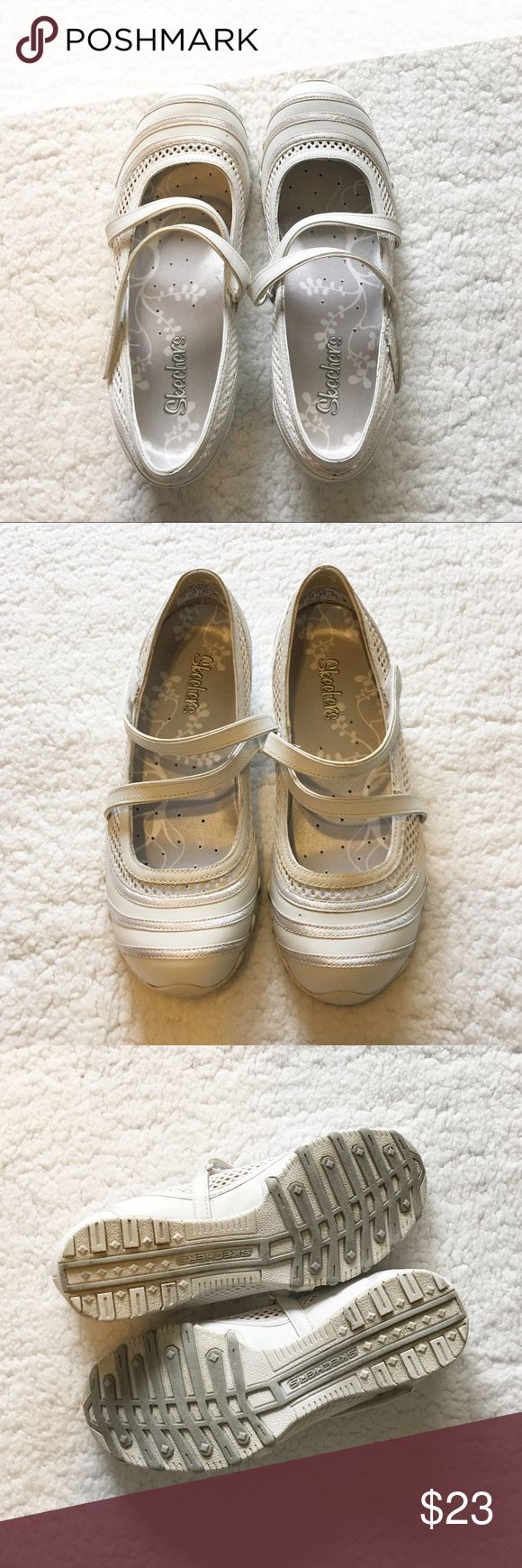 White Skechers Mary Jane strap sneakers, size 7.5 Great condition Skechers Mary Jane sneakers in a size 7.5. Incredibly comfortable! White marches just about anything too! Only worn a few times. May need some brightening up with a magic eraser, but overall they're ready to be worn! Skechers Shoes Sneakers