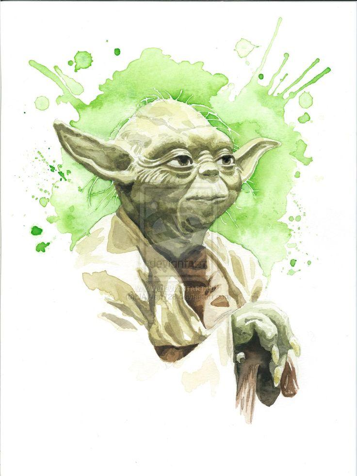 Star Wars Watercolor Print: Yoda by JAWart728.deviantart.com on @deviantART