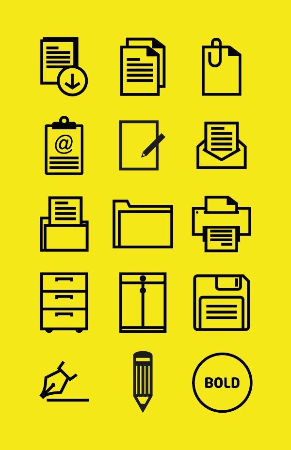 Office outline icon set by Graficheria, via Behance
