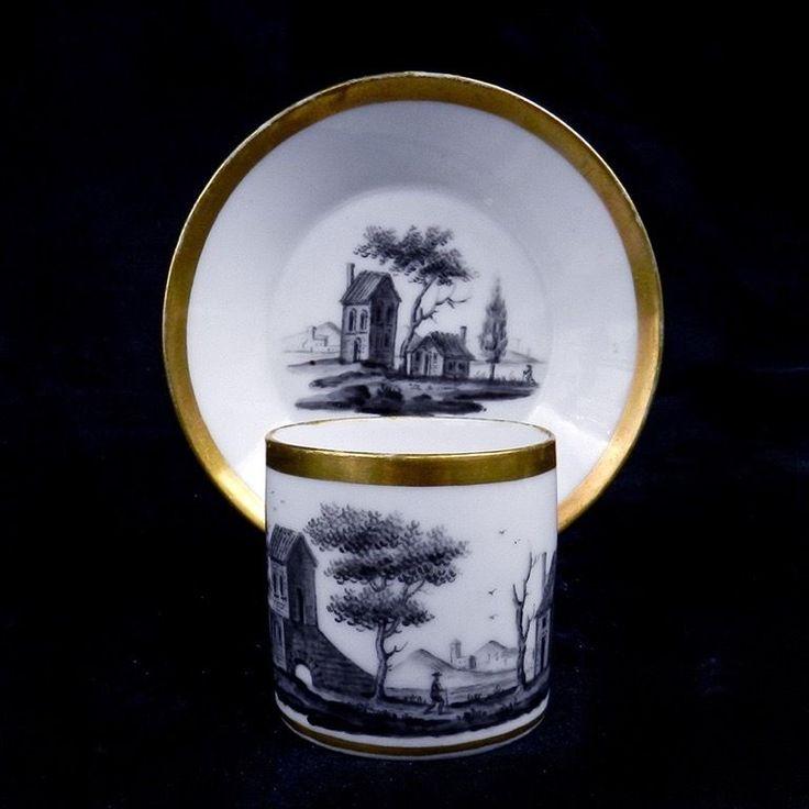 Paris Locré Tasse Litron Porcelaine Fin 18ème Paysage Animé Grisaille A