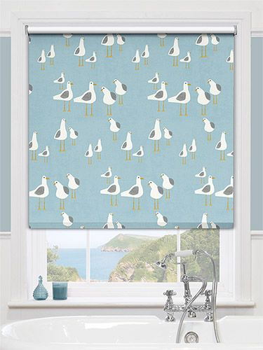 Splash Gulls Seaside Blue Roller Blind from Blinds 2go