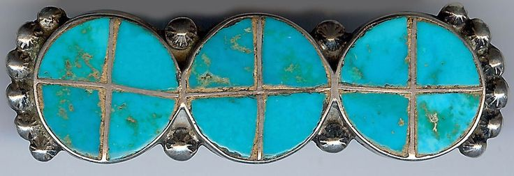 GREAT VINTAGE ZUNI INDIAN STERLING SILVER INLAID TURQUOISE CIRCLES PIN
