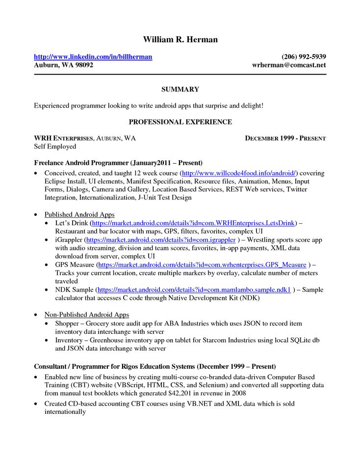 Self employed resume