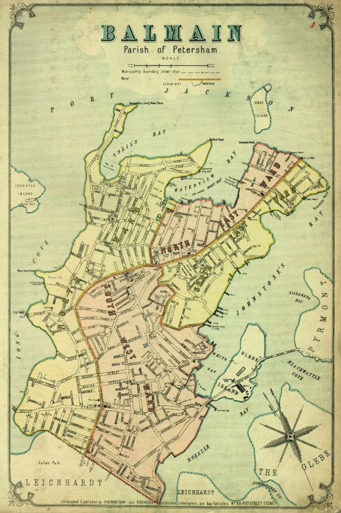 Vintage maps. Atlas of the Suburbs of Sydney - Balmain 1886-1888