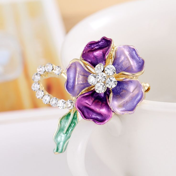 New Style Crystal Leaves Flower  Enamel Breastpin Pin Cocktail Brooch Bouquet