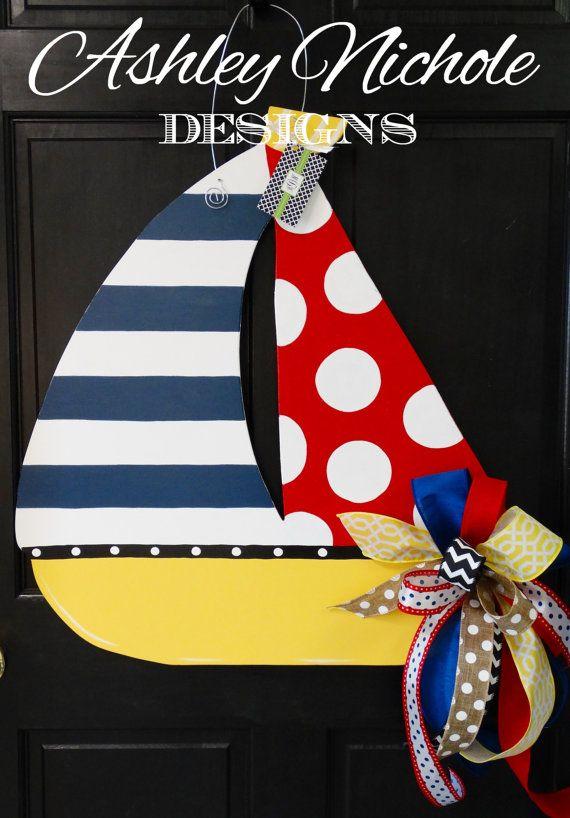 Wooden Sailboat Door Hanger, Door Decoration