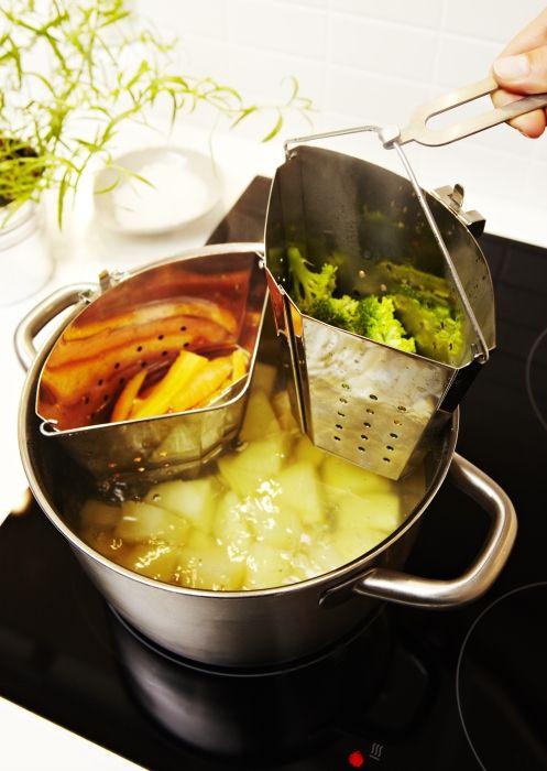 Escolher os acessórios certos, permite-vos cozinhar vários alimentos dentro do mesmo tacho, ao mesmo tempo, poupando energia.
