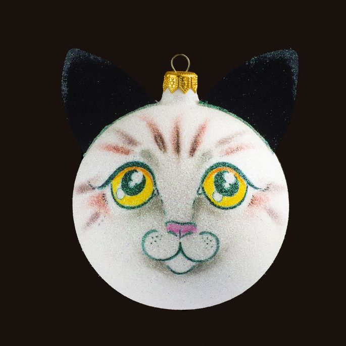 Snowman Cat - Personalized Glass Christmas Tree Bauble / Ball Ornament Decoration