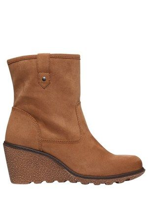 F&F Faux Suede Crepe Sole Wedge Ankle Boots