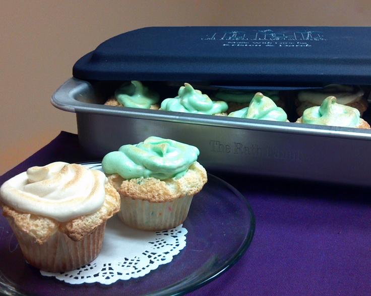 Angel food meringue cupcakes carried in a personalized