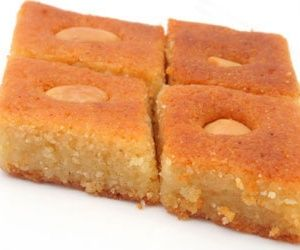 Here is an Egyptian recipe, called basbusa and is primarily a cake made with semolina. Very common in Egypt, this cake has many years of service in the Egyptian kitchen.