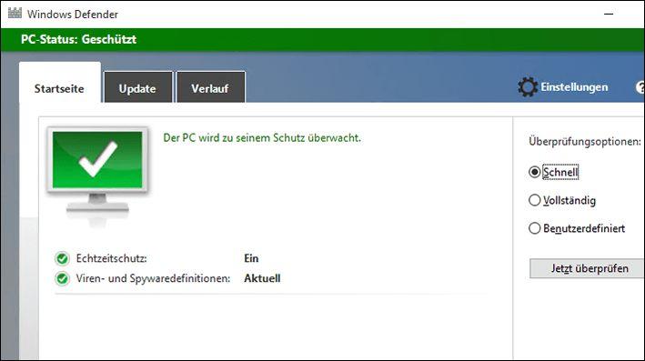 Screenshot von Windows Defender