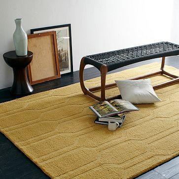 Honeycomb Textured Wool Rug - Horseradish