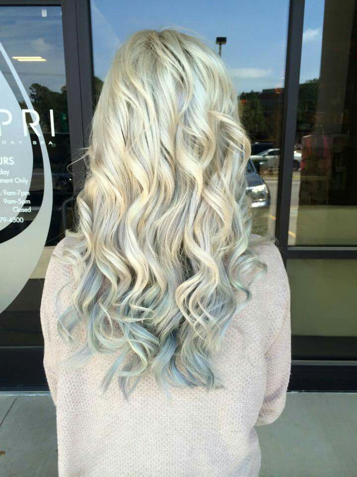 Silver blonde to steel blue ombre! Love my new hair :)!!!