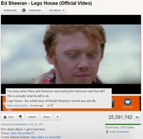 """I love this music video! I was so confused the first time I saw it! I was like """"wait is that Ed Sheeran or Rupert Grint?"""""""
