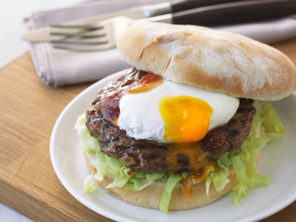 BBQ Aussie Lamb Burger with Poached Egg and Tomato Chutney - Farm Pride