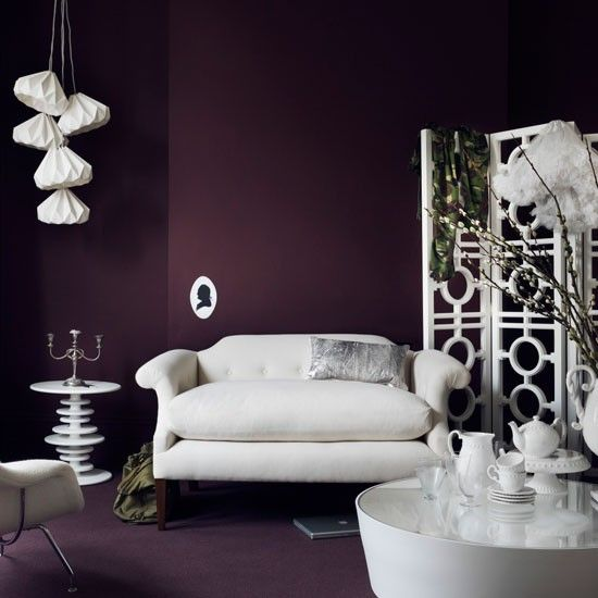 Deep Plum Living Room Let The Drama Of White Stand Out By Placing Sculptural Luminous
