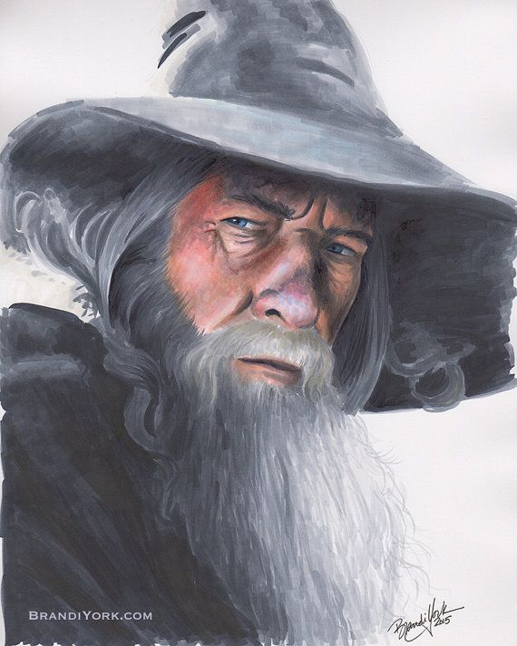 The Gray Wizard - Print - Gandalf Lord of the Rings Ian McKellen Copic Marker Portrait Drawing