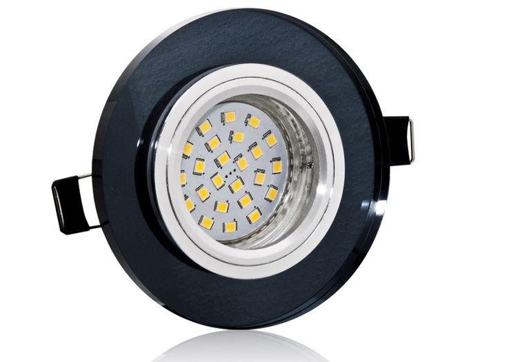 LED Einbaustrahler Set mit Marken GU10 LED Spot Nextec 4 Watt Klarglas schwarzes Kristallglas rund 30 Watt Ersatz