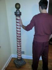 Original Victorian 1880s Wooden Barber Pole 6 Foot ONE OF A KIND