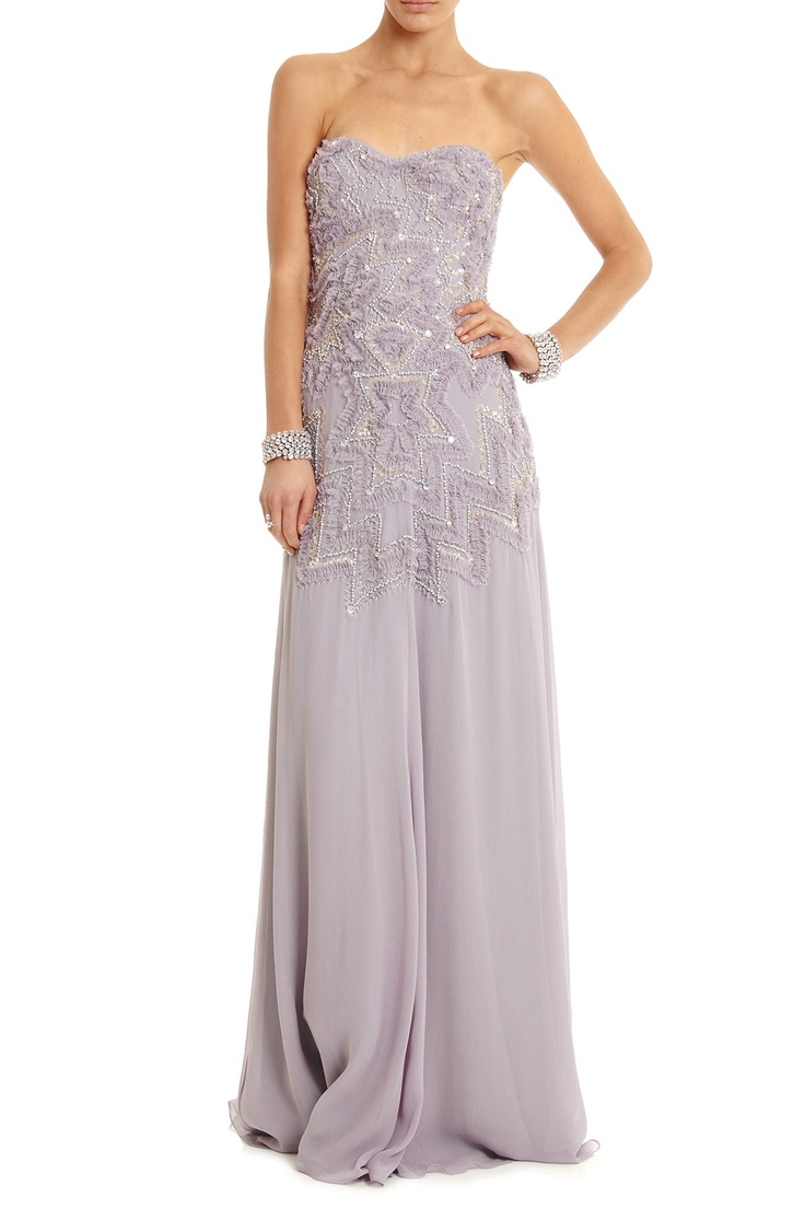 Lisa Ho Zig Zag Beaded Strapless Dress