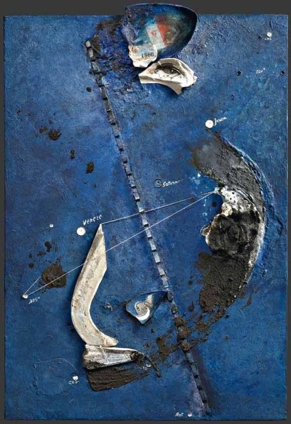 """Gabriella Benedini, """"Il cielo del 26 ottobre 1860"""", tecnica mista su tavola, cm 100x70, dal catalogo della mostra """"Novanta artisti per una bandiera"""", ©2013 corsiero editore"""