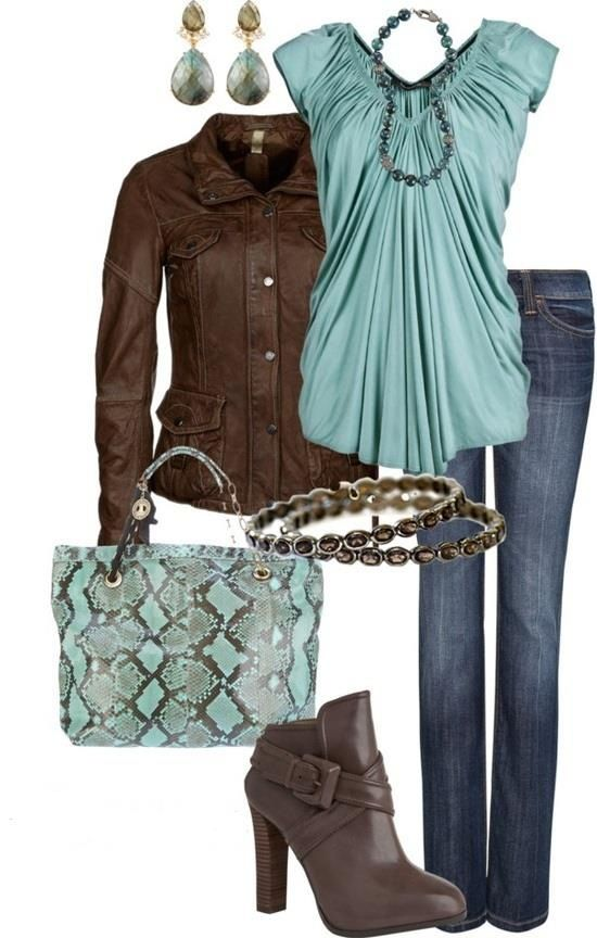 I like the color and drape of this blouse.  I probably wouldn't wear the jacket or get the purse, but I like the boots-would need a smaller heel.  Like the earrings.