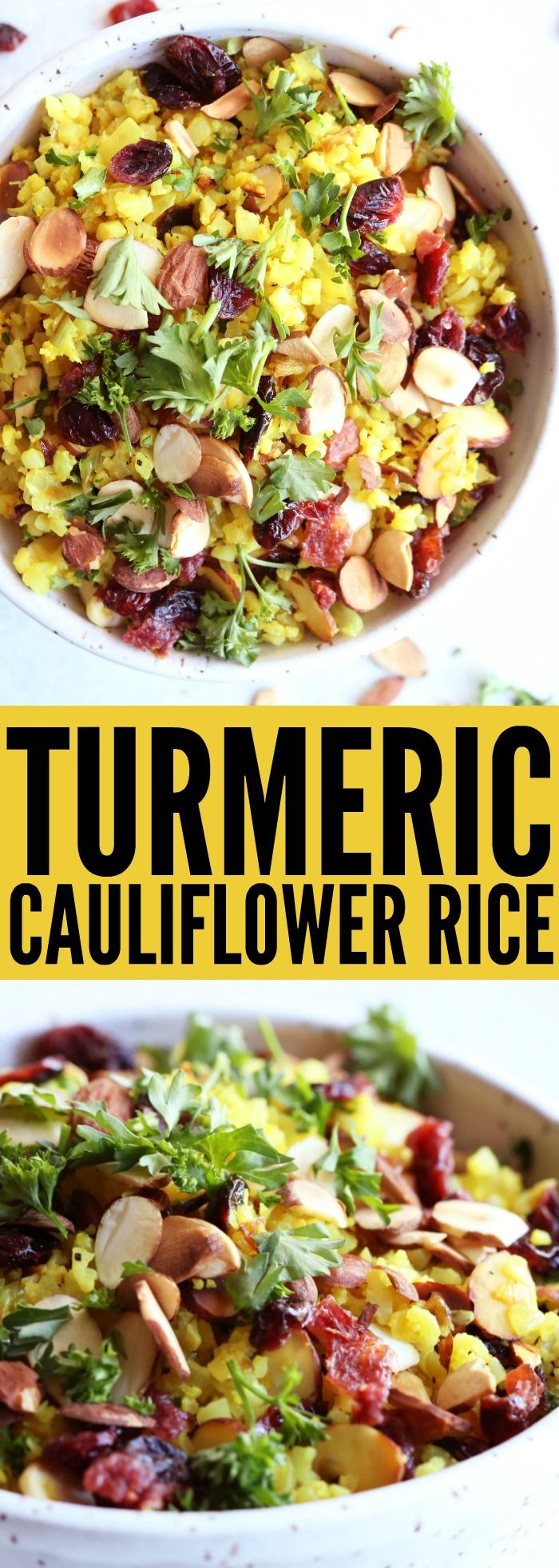 LOVE this easy to make Turmeric Cauliflower Rice!! Add some roasted salmon or grilled chicken on top and you have a colorful, flavorful, and delicious gluten free meal! | Posted By: DebbieNet.com