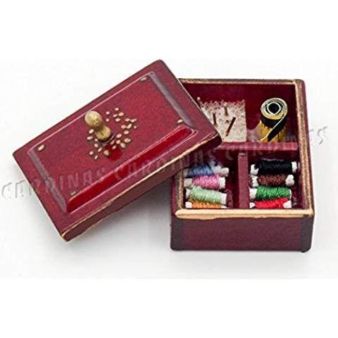 Odoria 1/12 Miniatur Vintage Nähgarn Box mit Deckel Für Puppenhaus