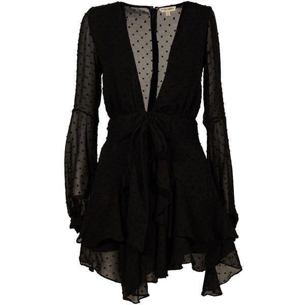 Tarta Long Sleeved Mini Dress ($351) ❤ liked on Polyvore featuring dresses, black, womenclothingdresses, polka dot mini dress, longsleeve dress, textured dress, long-sleeve mini dress and mini dress