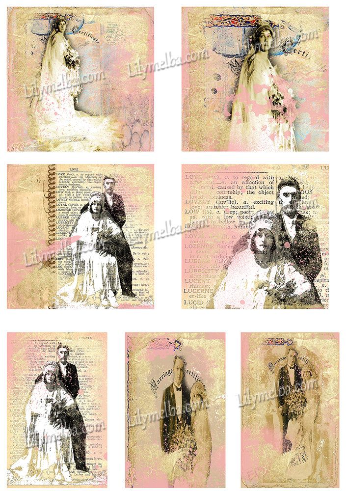 Artist Trading Card Wedding vows.... A4 digital download collage sheet... by Lilysart1 on Etsy