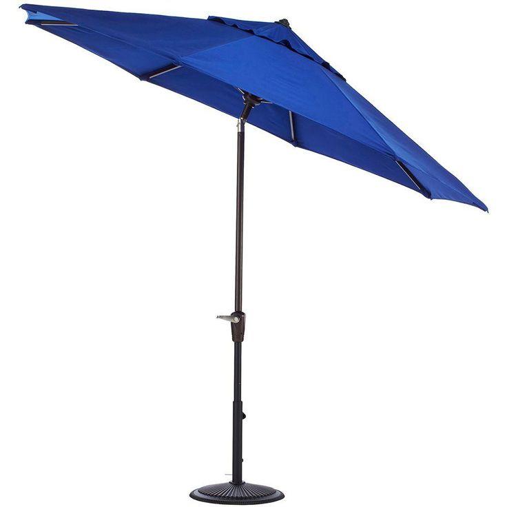 aluminum auto tilt patio umbrella in blue