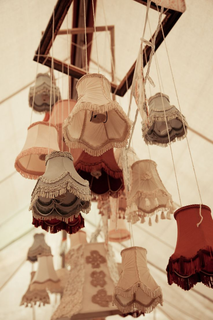 Lovely lampshade lanterns! Cheap and readily available at charity shops
