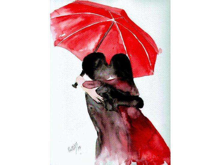 Kiss, original watercolor painting